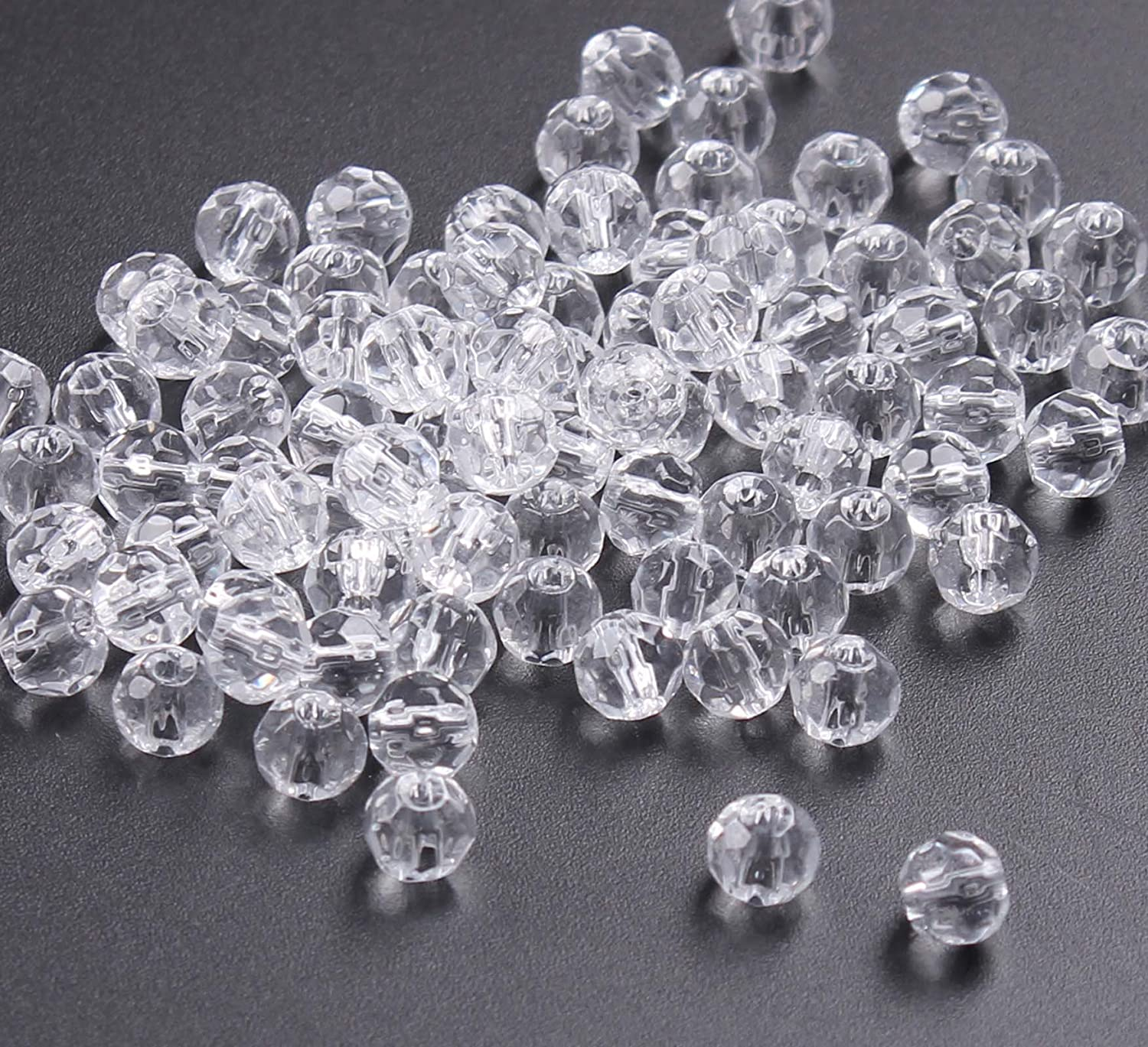 BIHRTC Pack of 300 Rondelle Faceted Crystal Glass Spacer Loose Beads for Jewelry Making Findings 6mm, Clear