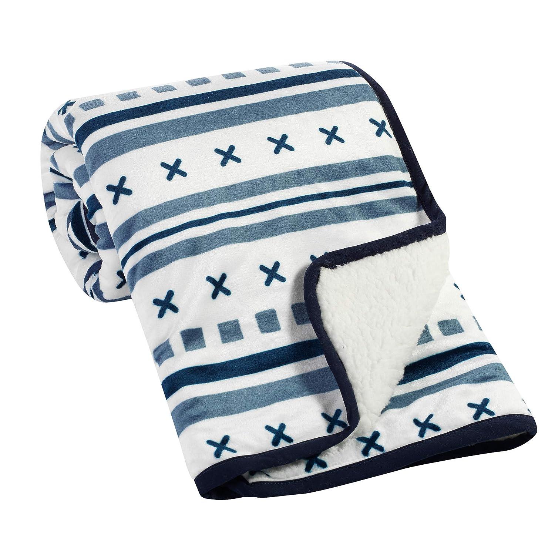 Lambs & Ivy Whimsical Woods Blue/White Sherpa Minky Baby Blanket