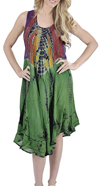 ae0d410be7 LA LEELA Women s Sleeveless Loose Casual Swing Beach Sundresses Kaftan Cover  Up Rayon Tie Dye Green G401