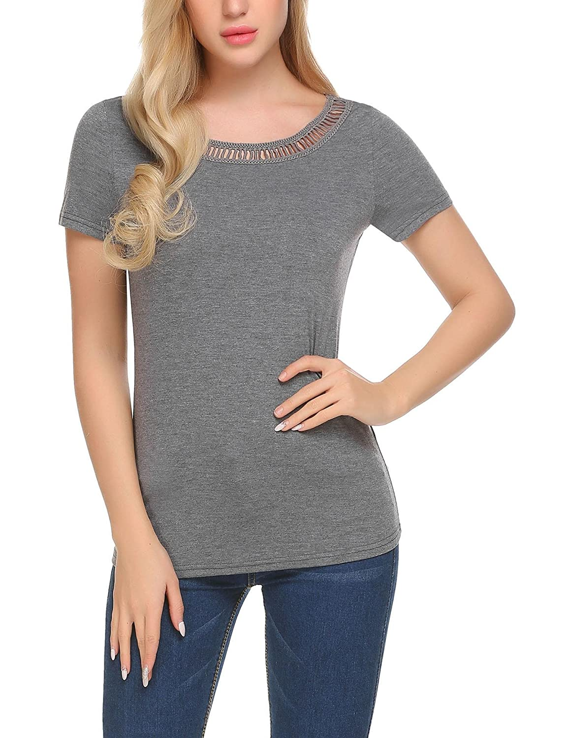 1b5a6f7b0d04 Yayado Women Casual Crew Neck Cut Out Tops Solid Short Sleeve Shirts Blouse  at Amazon Women's Clothing store: