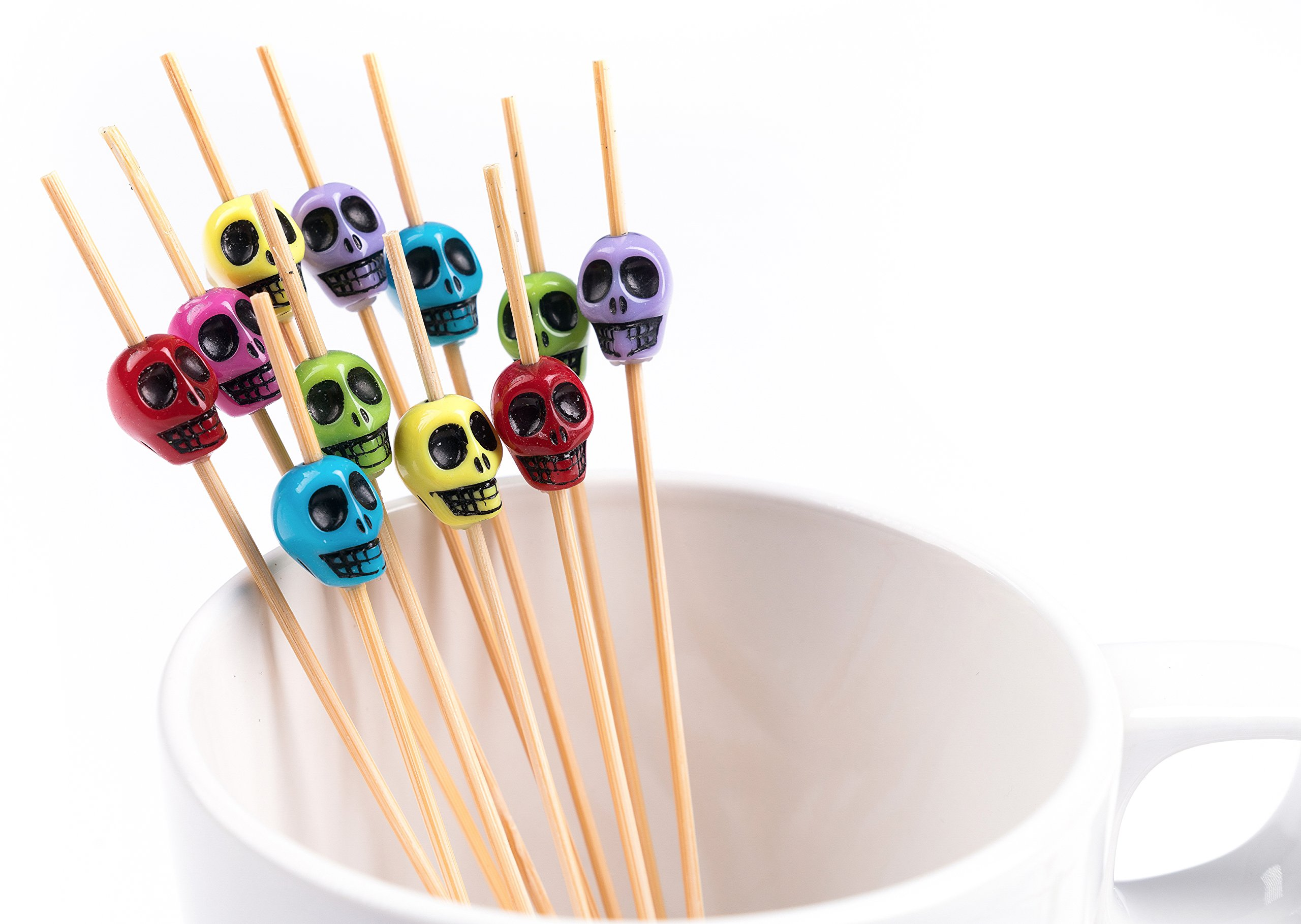 PuTwo Cocktail Picks Handmade Bamboo Toothpicks 100ct 4.7'' in Multicolor Skulls by PuTwo (Image #5)
