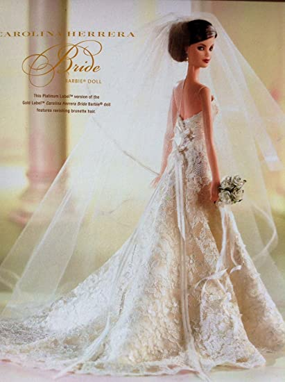 Carolina Herrera Wedding Dress.Carolina Herrera Barbie Collector Designer Brunette Bride Platinum Label