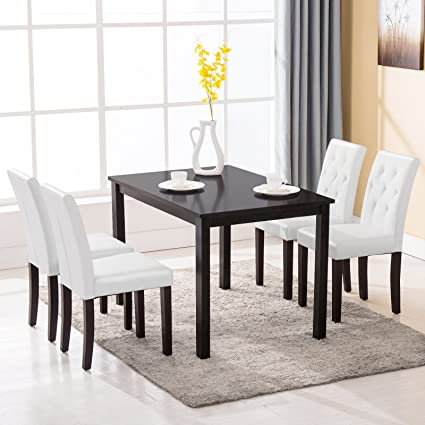 Incroyable Mecor 5 Piece Dining Table Set Wood Table/4 Leather Chairs Kitchen Room  Breakfast Furniture