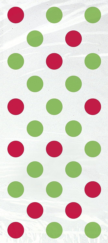 Unique Party - Bolsas de Fiesta de Navidad de Celofán - Diseño de Lunares Rojos y Verdes - Paquete de 20 (62067)