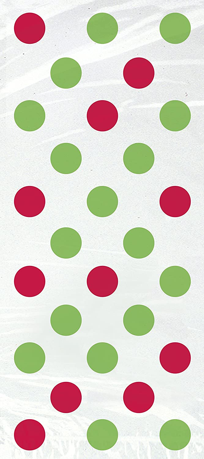 Red & Green Polka Dot Christmas Cellophane Bags, 20ct