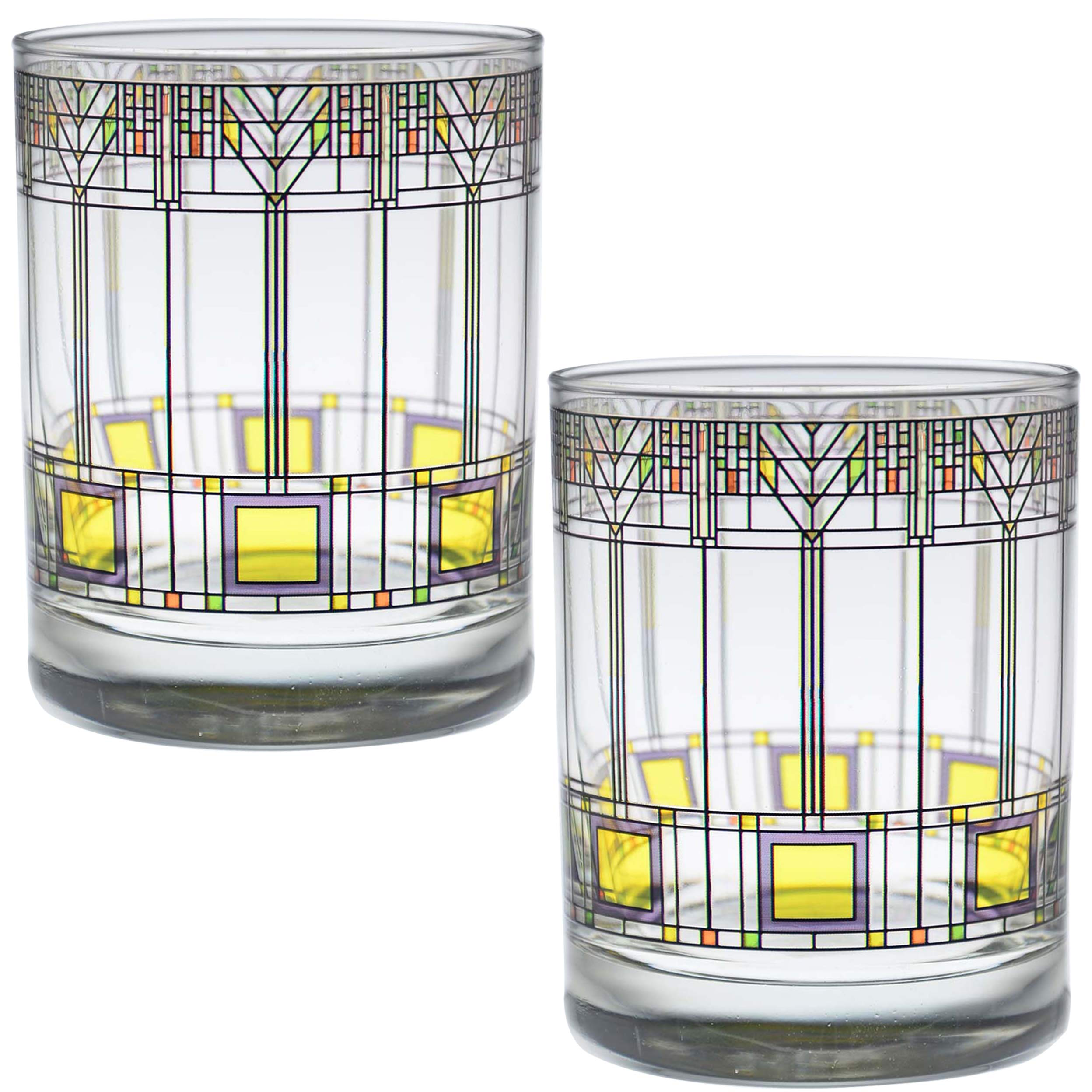 Frank Lloyd Wright DOF Double Old Fashioned Glass 14-Ounce (Gift Boxed Set of 2, Tree of Life)