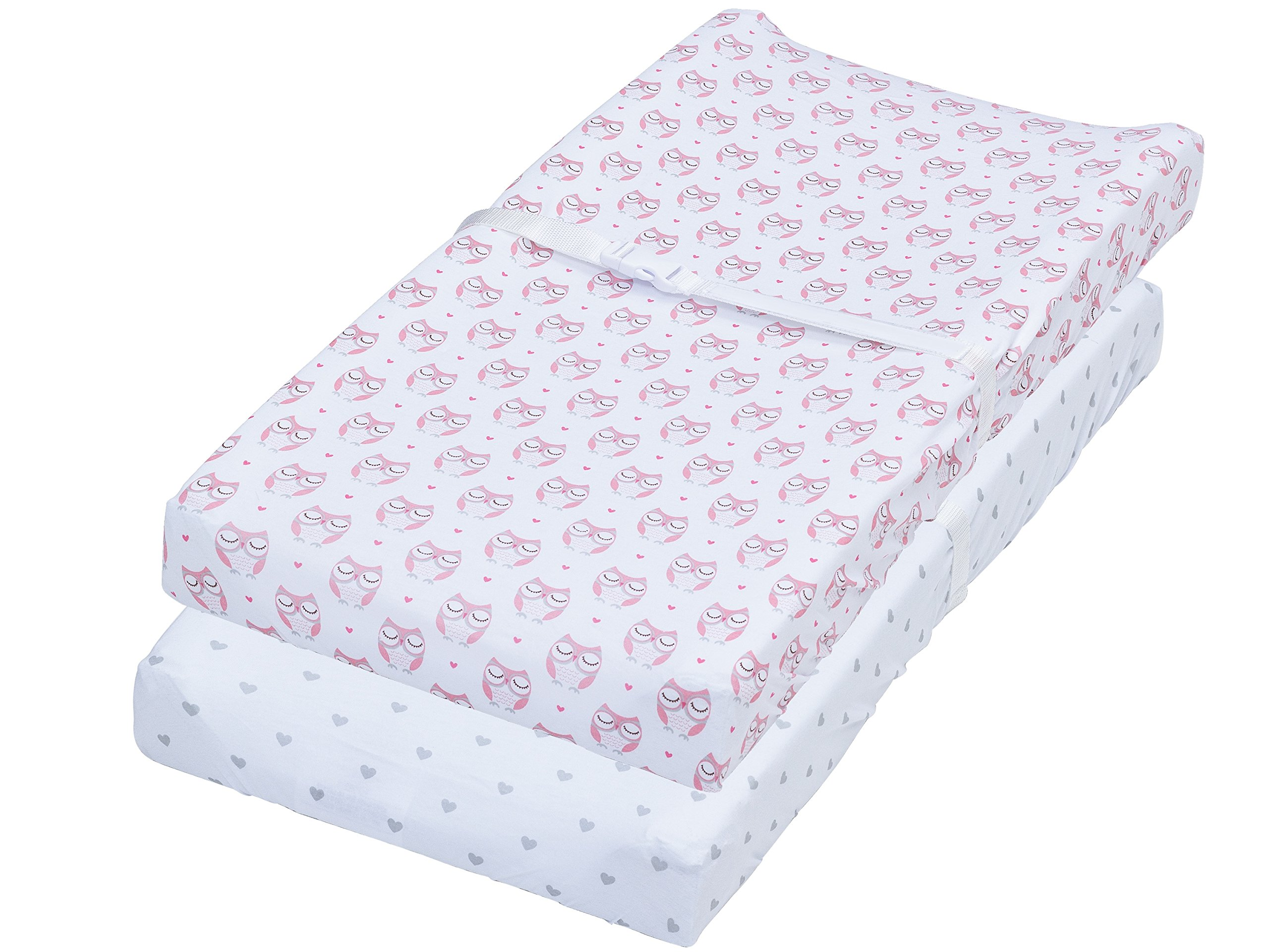 Changing Pad Cover, 2 Pack Pink Owls & Hearts Fitted Soft Jersey Cotton Bedding