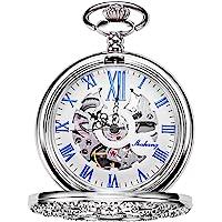 TREEWETO Hollow Mechanical Pocket Watch Silver Flower Vine Skeleton Roman Numerals