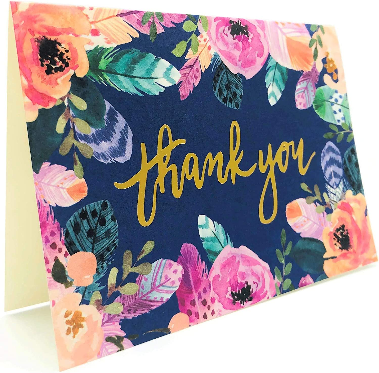 Clementine Paper Inc Boho Chic Bird Feathers & Garden Flowers Blank Thank You Notes Greeting Card Notecard Boxed Set 16 Cards & Envelopes, Gold Foil Thank You with Bird Feathers & Garden Flowers