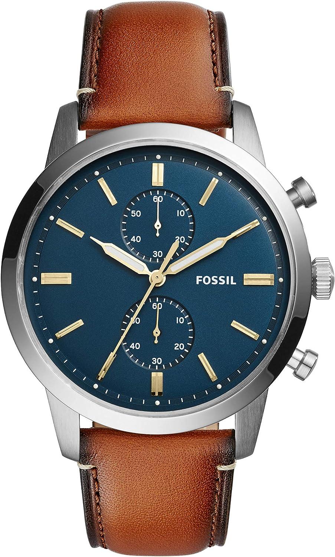 Fossil Reloj Cronógrafo para Hombre de Cuarzo con Correa en Piel FS5279