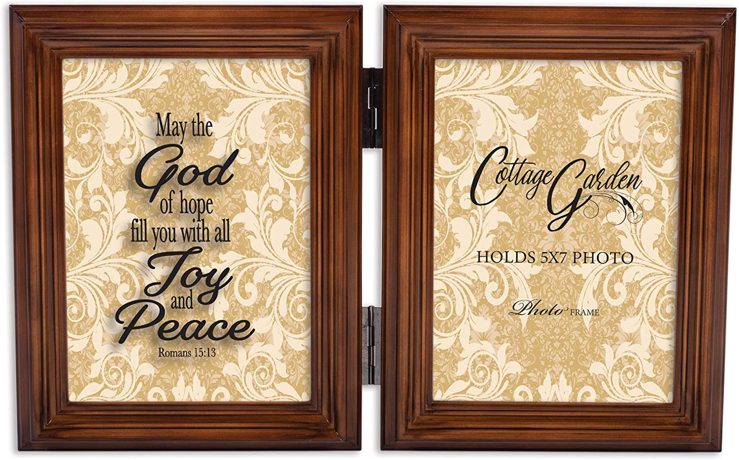 Cottage Garden Fill Joy Peace Caramel Brown 5 x 7 Wood Hinged Double Tabletop Photo Frame