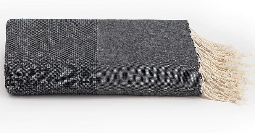 Lantara sofá überwürfe Grand Foulard algodón Antracita Negro 195 x ...