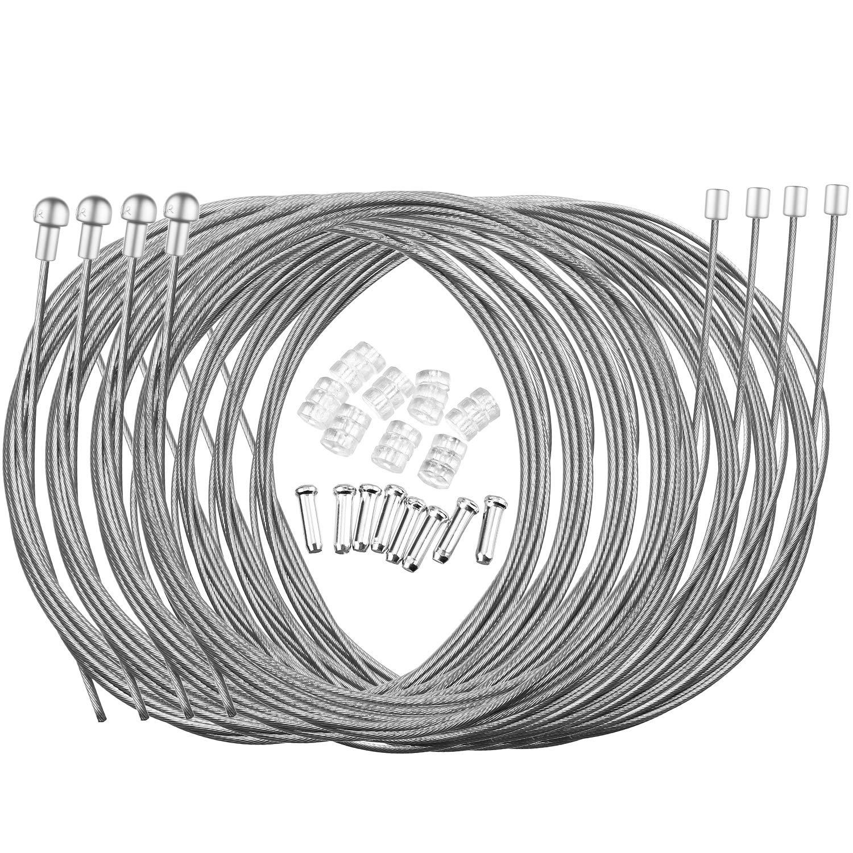 Hotop Cable de Freno de Bicicleta de Carretera Set de Alambre Cable de Engranaje y Tapas