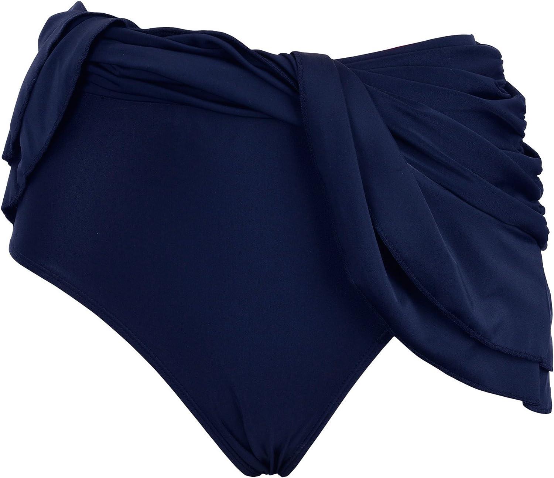 Firpearl Womens Swim Skirt Ruffle Bikini Tankini Bottom Ruched Tummy Control Swimsuit