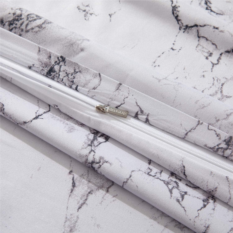 Housse Couette Imprim/é en Microfibre avec 2 Taie doreiller 65x65 cm Parure de Lit 2 Personnes avec Fermeture /Éclair Bedsure Housse de Couette 220x240 cm Blanc /à Motif Marbre