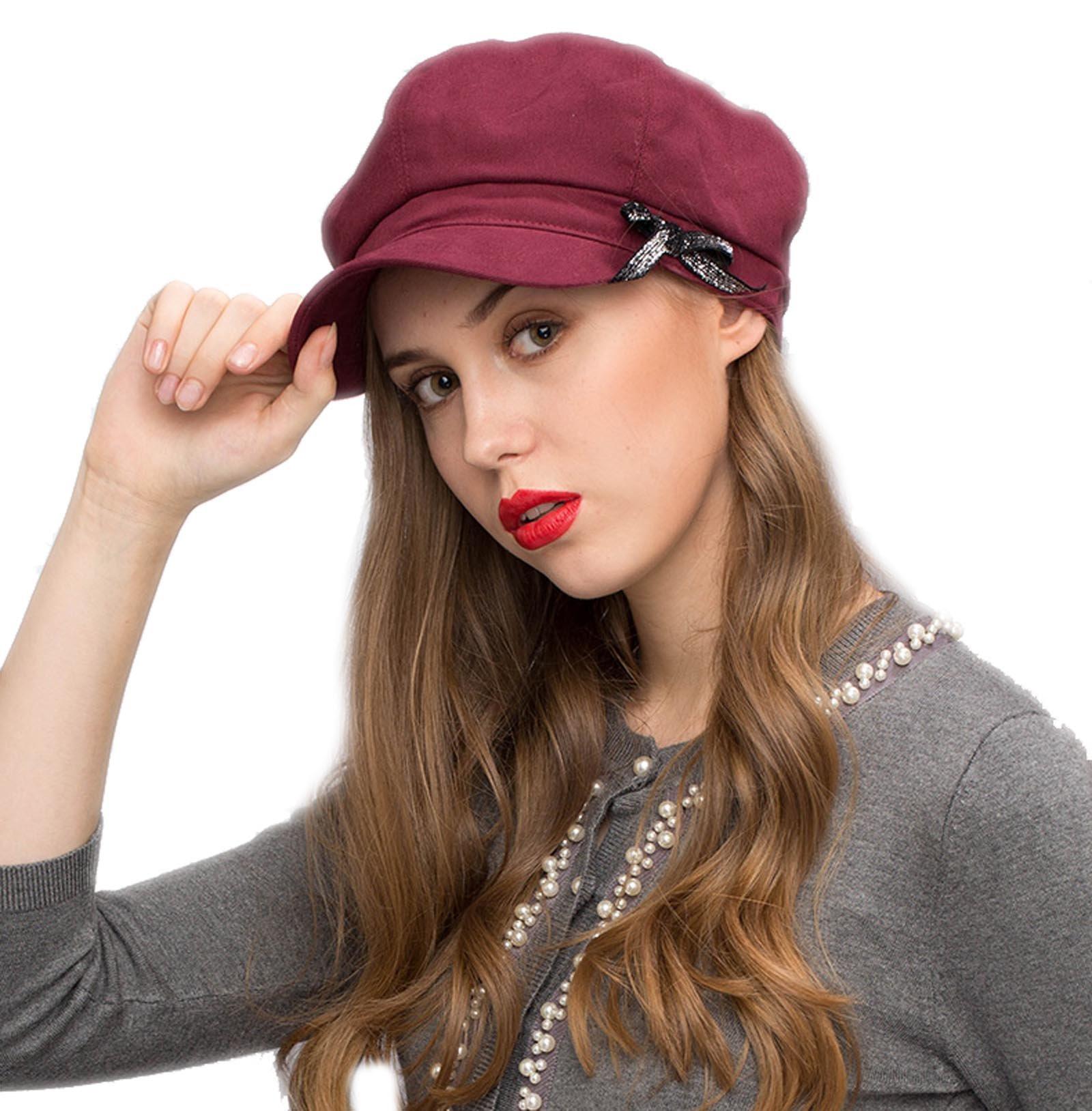 Stand Focus Women Ladies Cotton Newsboy Cabbie Gatsby Hat Cap Glitter Ribbon Navy Burgundy Khaki