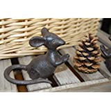 Maus aus Gusseisen, Dekoration für den Garten oder zu Hause.