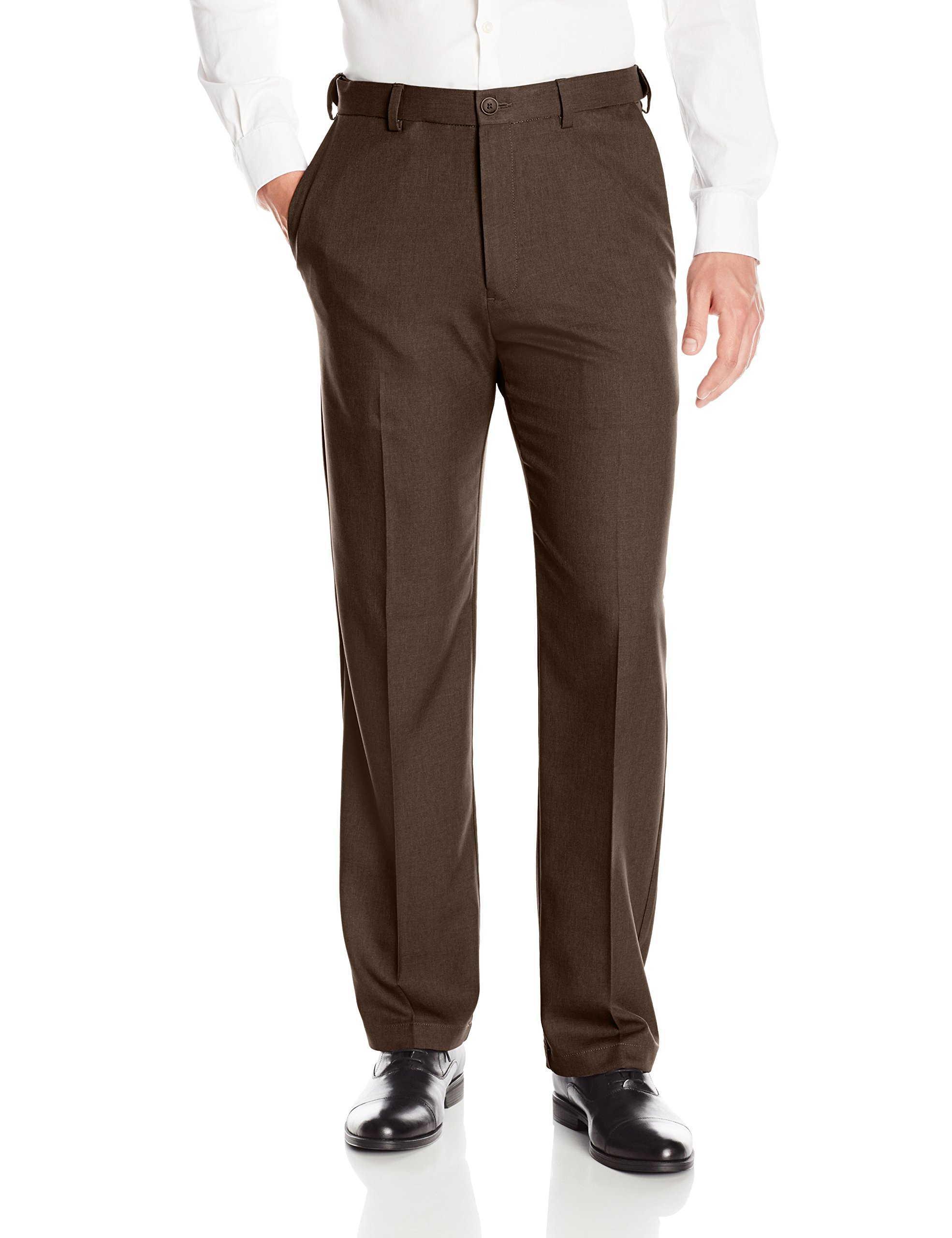 Haggar Men's Cool 18 Pro Classic Fit Flat Front Expandable Waist Pant, Brown Heather, 50Wx29L