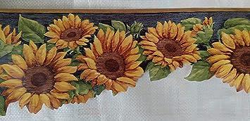 Sunflower Country Kitchen Laundry Wallpaper Border Dark Blue
