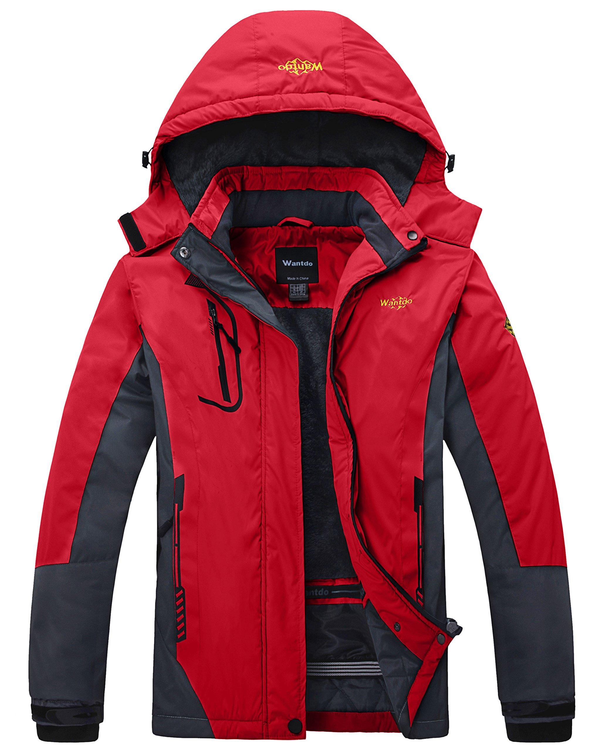 Wantdo Women's Waterproof Mountain Jacket Fleece Windproof Ski Jacket US S  Red Small