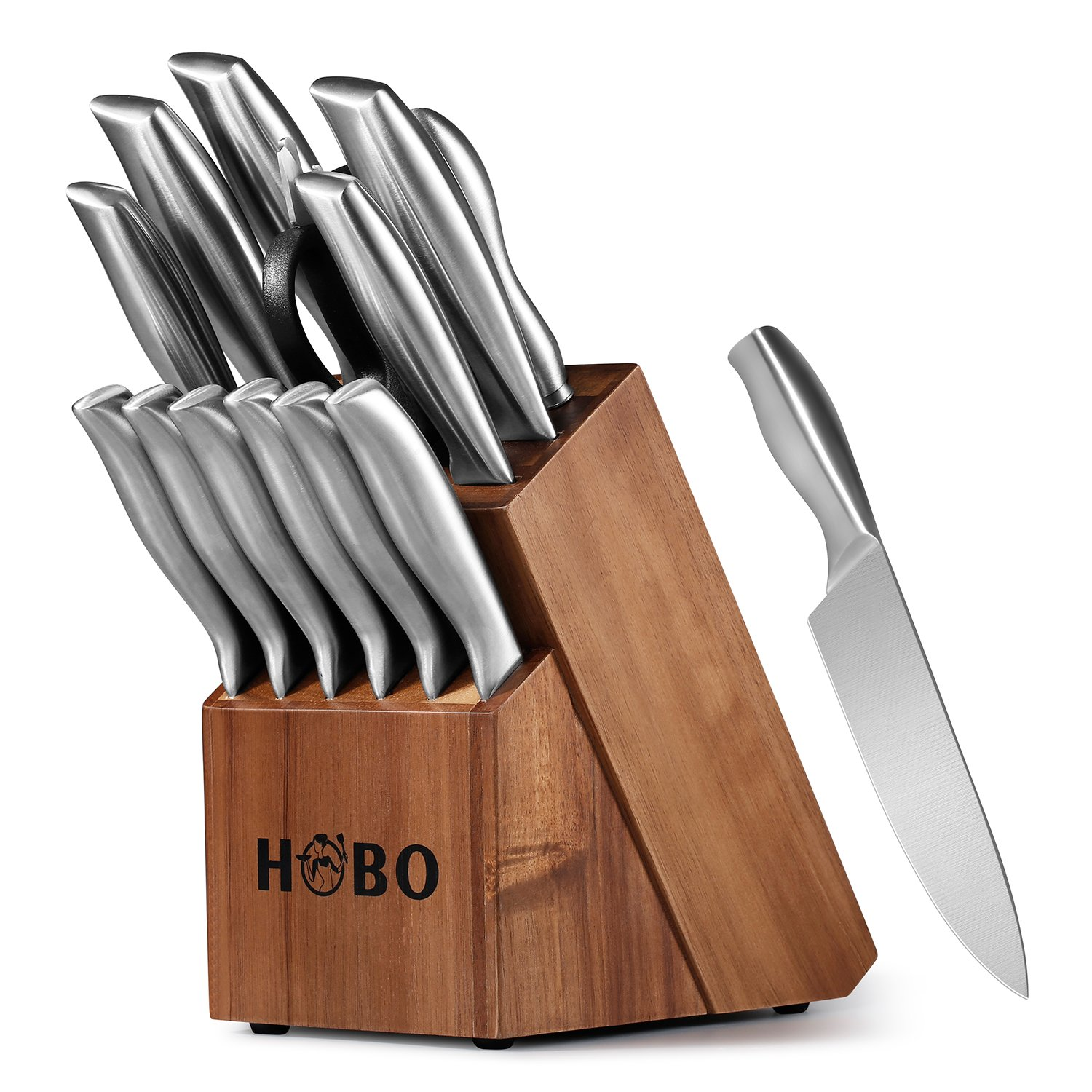 Details about Knife Set, HOBO 14-Piece Kitchen Knife Set with Block Wooden,  Self Sharpening