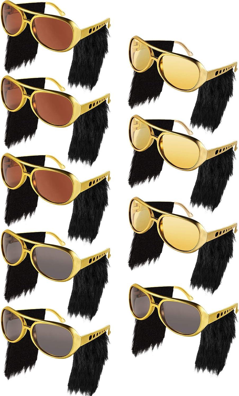 Frienda 9 Pares de Gafas de Disfraz Elvis Rockstar con Pelucas ...
