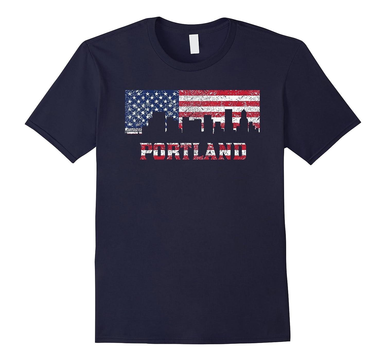 Vintage American Flag Portland OR Skyline Distressed T-Shirt-Art