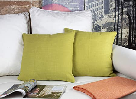 2 Fundas Cojines Verde Pistacho 45 x 45 cm, Tejido de Algodón Lino, Hecho en España. Funda cojín sofá, sillón, Cama, decoración. Ref: linver-45x45: Amazon.es: Hogar