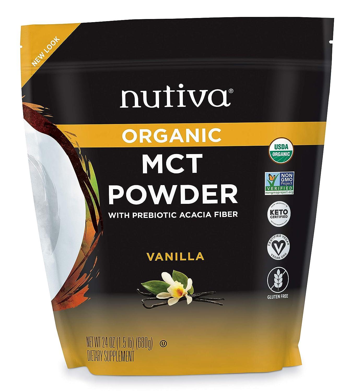 Nutiva Organic MCT Powder with Prebiotic Acacia Fiber, Vanilla, 24 Ounce | USDA Organic, Non-GMO, Non-BPA | Vegan, Gluten-Free, Keto & Paleo | Instant Beverage or Boost to Coffee & Smoothies