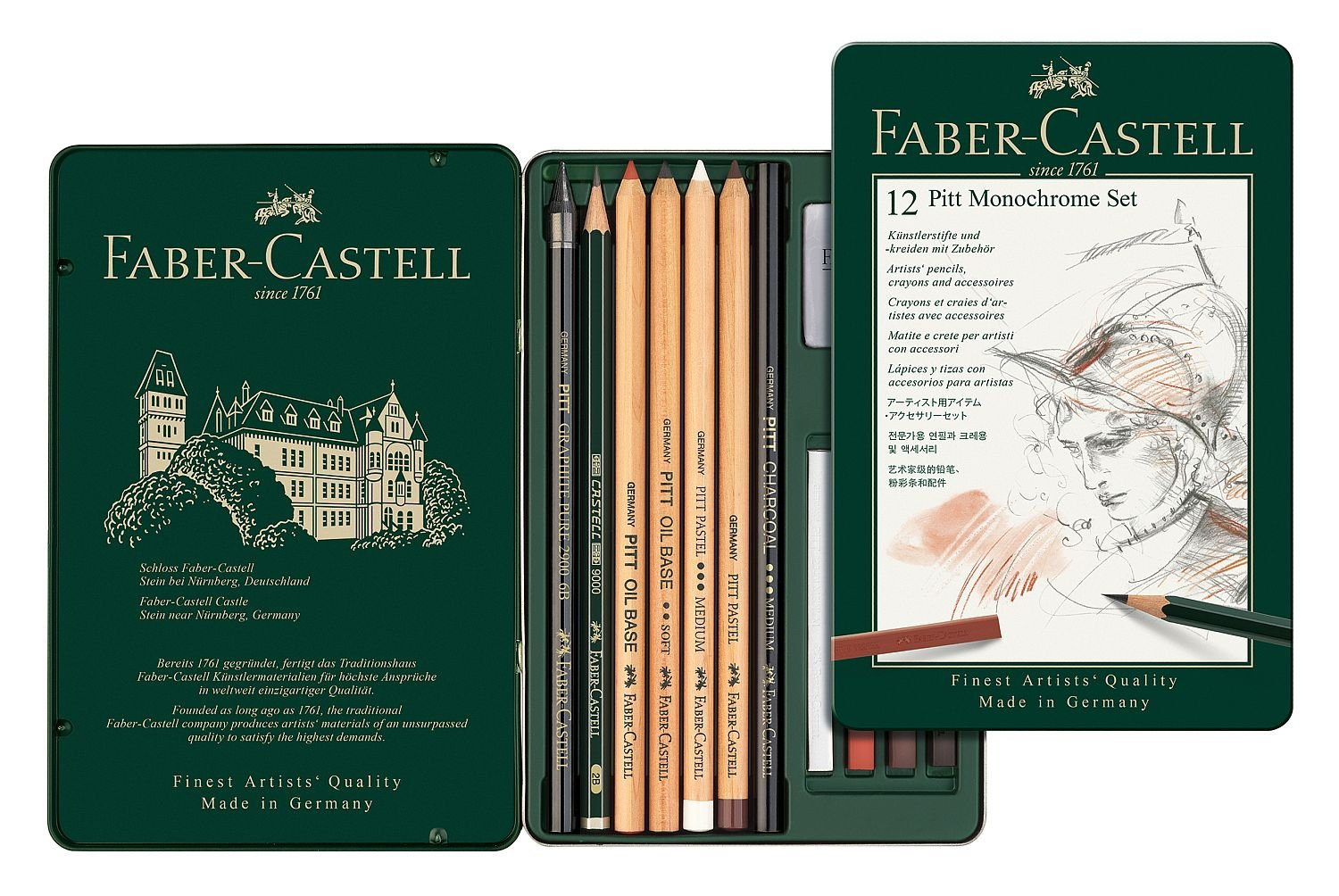 Faber-Castel 112975 PITT Monochrome Tin Set ,12 Piece