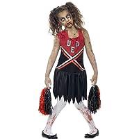SMIFFYS Costume Zombie Cheerleader, Rosso e Nero, comprende Abito Insanguinato e Pompon