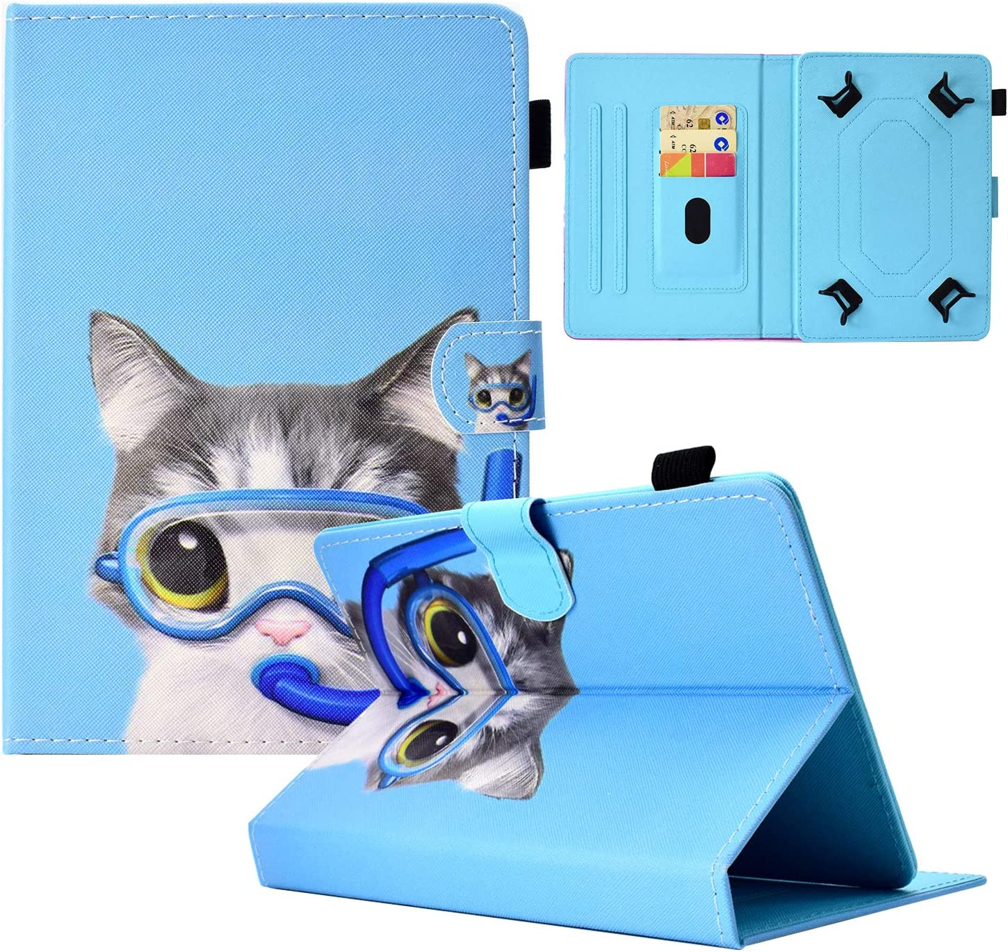 "Dteck 8-9 Inch Universal Tablet Case, Stand Flip Cover with Stylus Pen for Galaxy Tab/Lenovo Tab 4 M8 /MatrixPad S8 /Fire HD 8.9"" /LG G Pad/Dragon Touch Notepad Y80 8 8.3 8.4 Inch-Diving Cat"