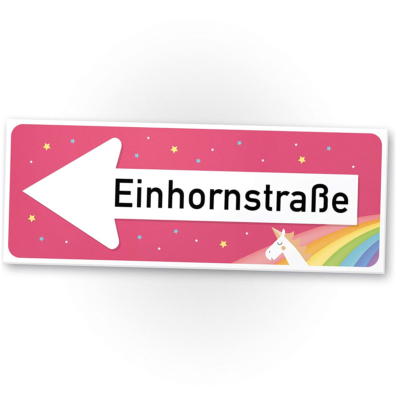 Einhhorn Schild - Einhornstraße (40 x 15cm), Süße Deko - Wanddeko ...