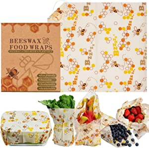 Warmfits Beewax Wraps Reusable Organic Food Wraps Eco Friendly Biodegradable Plastic Free Zero Waste Sustainable Storage for Sandwich, Cheese, Fruit, Bread, Snacks- Odor Free- Medium 10