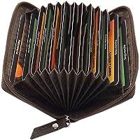 Cuero Tarjetero para Tarjeta de crédito y Tarjeta de Visita 13 Bolsillos (Marrón)