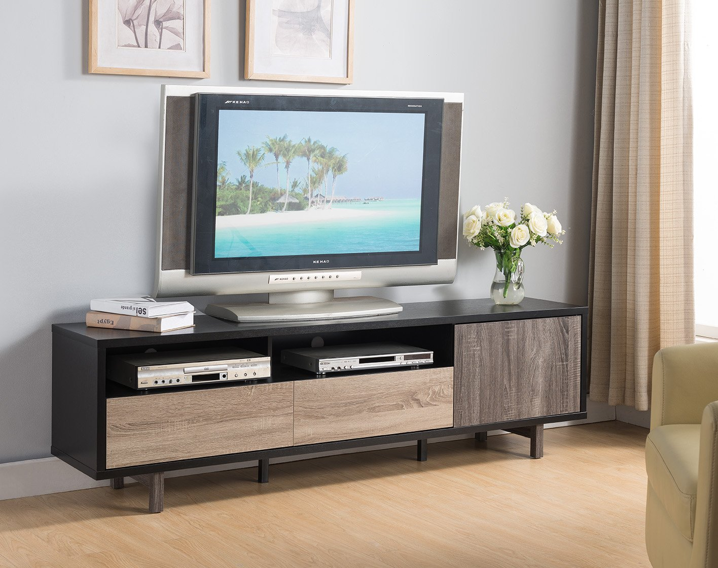"""Smart home 70"""" 3 Toned TV Stand Entertainment Center Console - Stylish and multi-functional tv stand Two display decks, two drawers, and a side cabinet Material: Sustainable high-grade engineered wood finished in wood-veneer for easy to clean and assemble with all included hardware and instructions provided for assembly. - tv-stands, living-room-furniture, living-room - 81WmMq3 t9L -"""