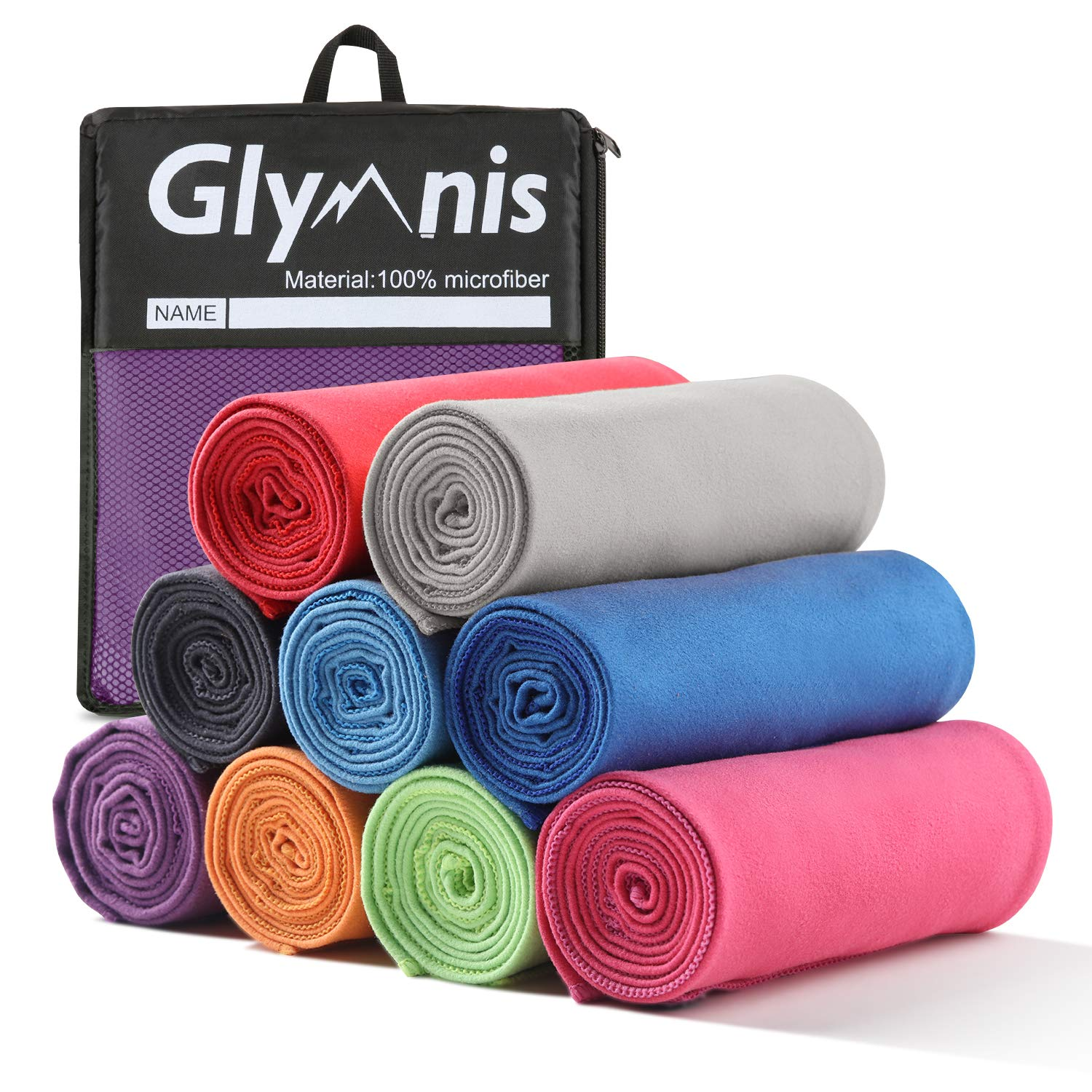 Purple L& xFF1A;31.5 x 79 Inch (1 Pack) Glymnis Microfiber Towel Beach Travel Yoga Towel with Ultra Absorbency for Gym Sports Fitness Bath Camping Swimming