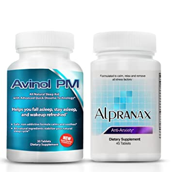 Avinol PM Bundle with Alpranax - Natural Sleep Aid with Melatonin and 5-HTP + Herbal...