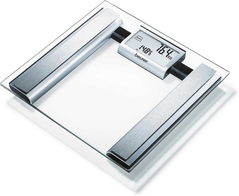 Beurer BG 39 - Báscula de baño diagnóstica de vidrio, transparente