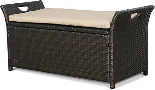 Ulax Furniture Outdoor Storage Bench Rattan Style Deck Box w Cushion