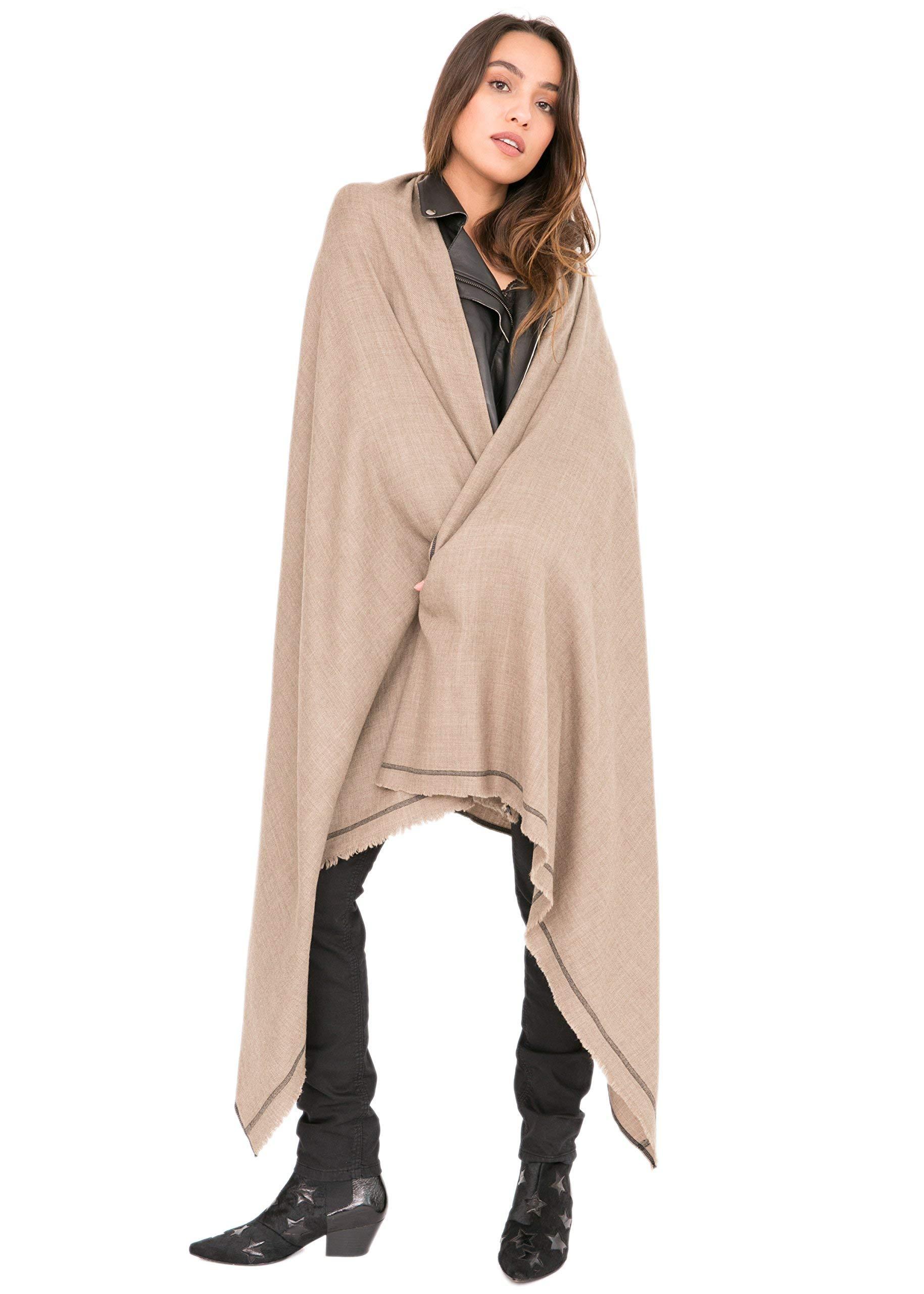 likemary Merino Wool Wrap Shawl & Blanket Scarf Oversize Fairtrade Pashmina Shoreditch Truffle 100 x 215cm