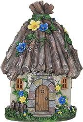 "Exhart Twig Roof Fairy House Garden Statue, Fairy Gardening, Resin, Solar Powered, 9"" L x 9"" W x 15"" H"