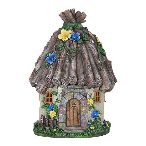 Attrayant Exhart Twig Roof Fairy House Garden Statue, Fairy Gardening, Resin, Solar  Powered,