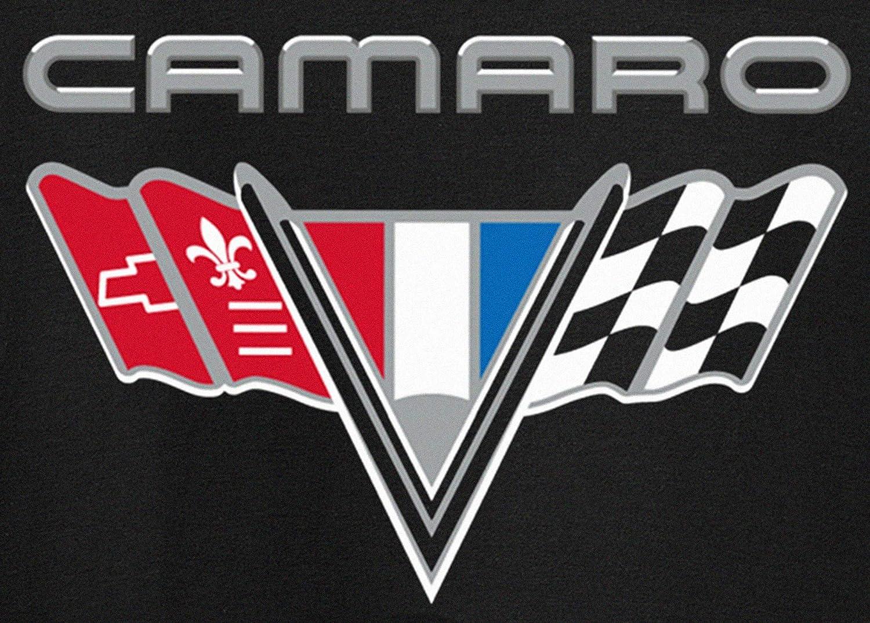 JH Design Mens Chevy Camaro Flag T-Shirt Short Sleeve Black Crew Neck Shirt