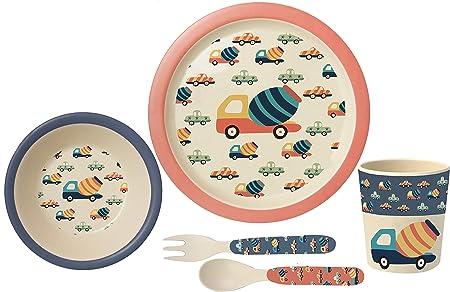 POS Handels GmbH - Set de Desayuno Retro de Cars, 5 Piezas, en Caja de Regalo, de bambú, almidón de maíz, melamina, Mezcla de Materiales, sin BPA: Amazon.es: Hogar