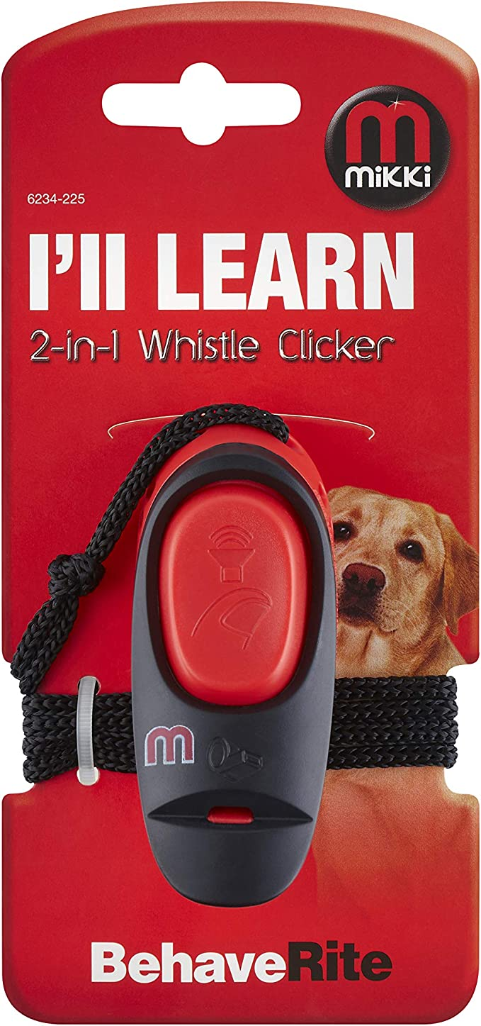 31 g Mikki 2-in-1 High Pitched Whistle Clicker Dog Clicker Training Aid for Recall and Command Behaviour with Neck Strap and Belt Hook