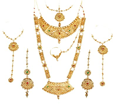 4f242c4fbe865 Buy NMJ Gold Plated 8 Pieces Wedding Bridal Jewellery Set for Women ...