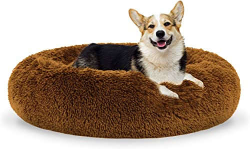 The Dog s Bed Sound Sleep Donut Dog Bed, Med Teddy Bear Brown Plush Removable Cover Premium Calming Nest Bed