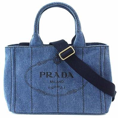 f01b64e769d7 未使用 展示品 プラダ PRADA カナパ ミニ 2way トート ショルダー バッグ デニム ブルー 1BG439 【