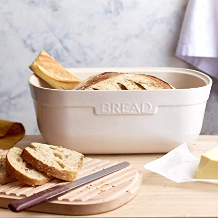 cer/ámica Flour White Caja de almacenamiento para pan Harina blanca Emile Henry Bread Box